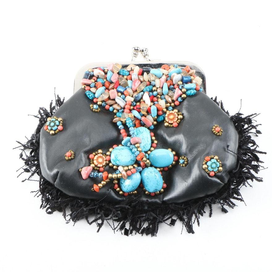 Mary Frances Southwestern Style Beaded Crossbody Bag in Vegan Leather