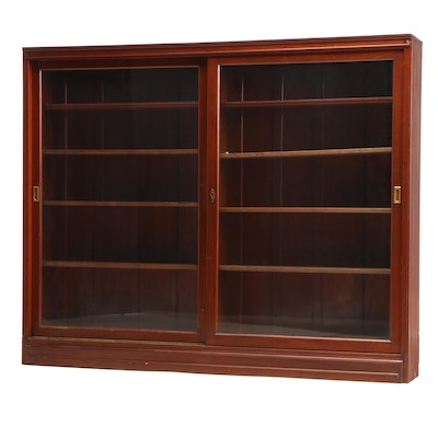 Mahogany Sliding Double-Door Bookcase, Early 20th Century