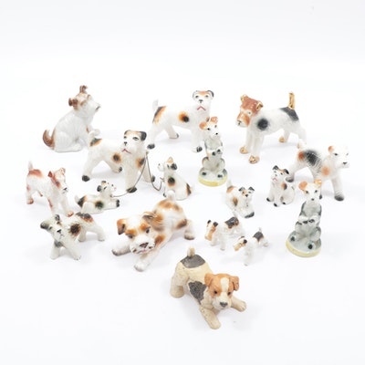 Lefton and Other Porcelain Fox Terrier Figurines, Mid to Late 20th Century
