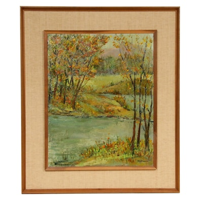 Creek Landscape Oil Painting, Mid-20th Century