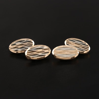 18K Yellow Gold Cufflinks with White Gold Accents