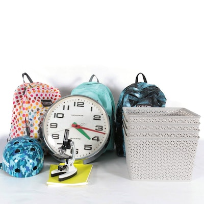 Jansport Vinyl Backpacks, Newgate Wall Clock and Storage Baskets