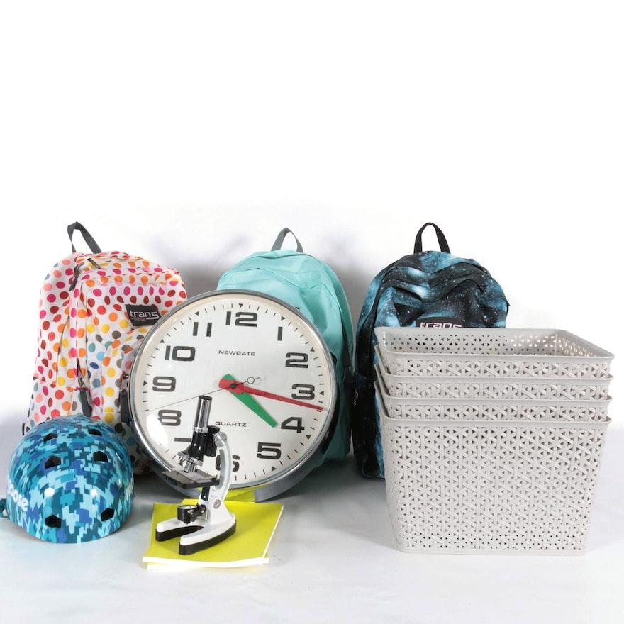 Jansport Vinyl Backpacks, Newgate Wall Clock and Storage Baskets