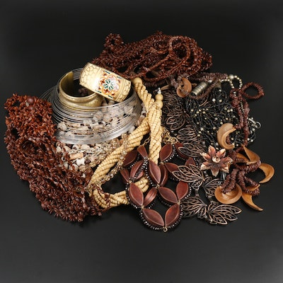 Assorted Jewelry Including Ceramic Beads, Rhinestones and Seeds