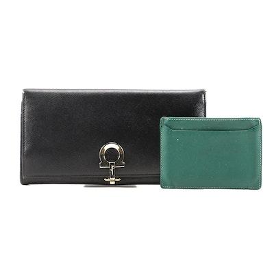 Salvatore Ferragamo Gancini Wallet and Prada Card holder in Saffiano Leather