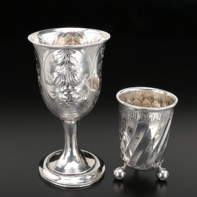 American  Repoussé Coin Silver Goblet and Norwegian 830 Silver Cup