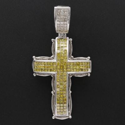 14K White Gold 3.37 CTW Invisible Set Diamond Cross Pendant