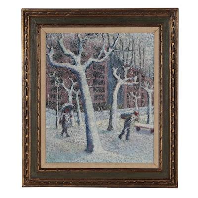 """Manuel de Arce Oil Painting """"Snowscape"""", 1966"""