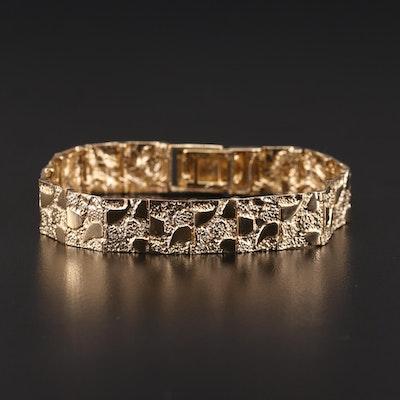 10K Yellow Gold Textured Bracelet
