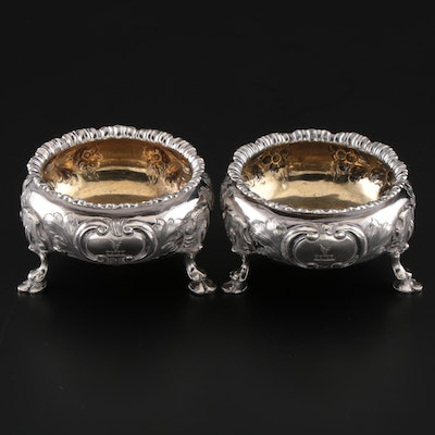 Pair of George John Richards & Edward Charles Brown Sterling Salt Cellars, 1862