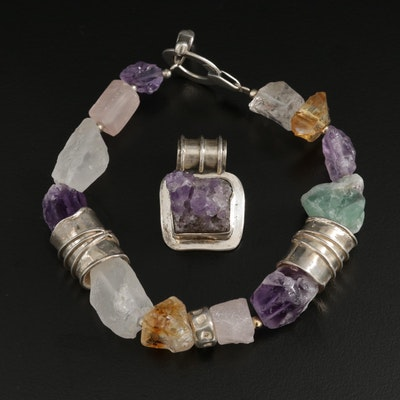Sterling Silver Quartz and Fluorite Bracelet and Pendant