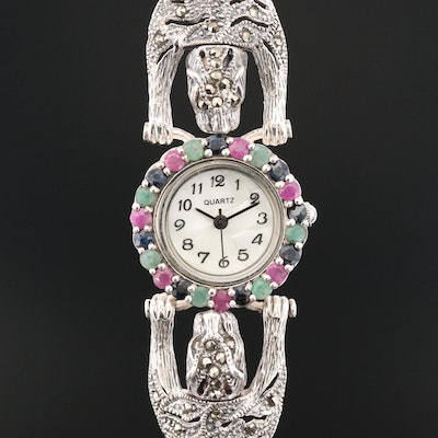 Sterling Silver and Gemstones Double Cougar Quartz Wristwatch