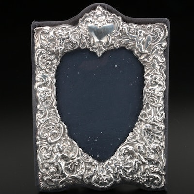 English Sterling Silver Heart Shape Repoussé Frame, 1987