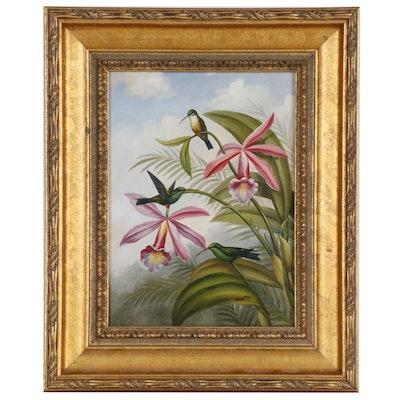Oil Painting of Hummingbirds, 21st Century