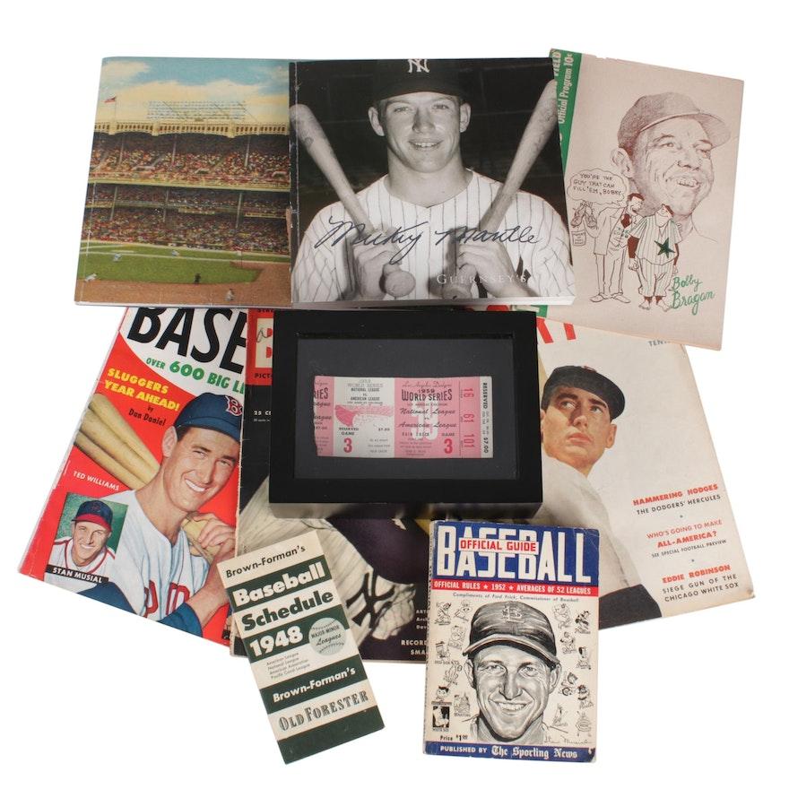1959 World Series Ticket Stub, Baseball Memorabilia and Guernsey's Catalogs