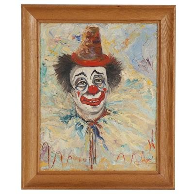Louis Spiegel Clown Portrait Oil Painting