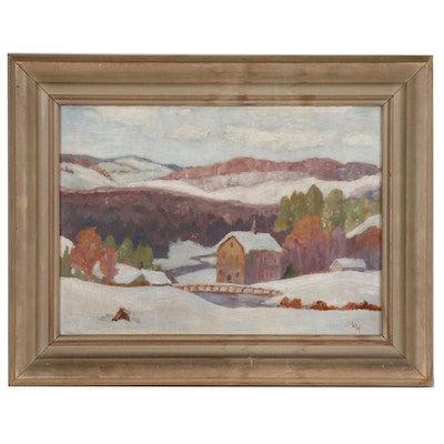 Helen Hair Winter Landscape Oil Painting, Mid 20th Century