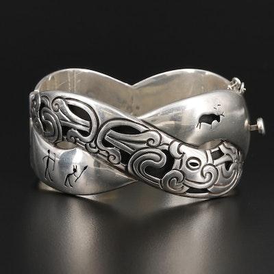 Antonio Pineda Sterling Silver Shadowbox Bangle Bracelet