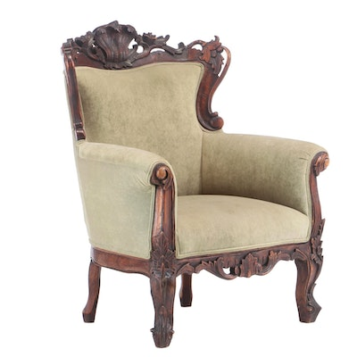 Rococo Style Carved Hardwood and Upholstered Bergère