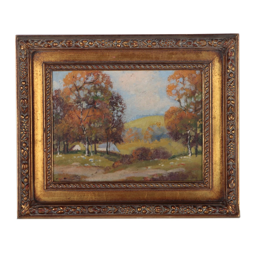 Autumnal Landscape Oil Painting, Early to Mid 20th Century