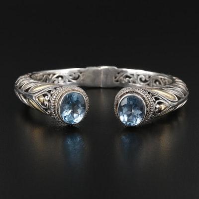 Robert Manse Sterling Silver Blue Topaz Openwork Cuff Bracelet