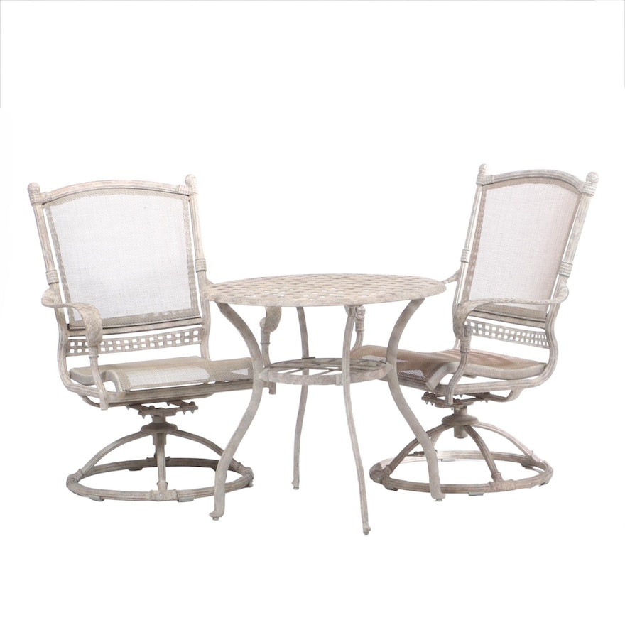 Cast Aluminum Patio Arm Chairs and Table Set, 21st Century