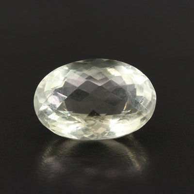 Loose 22.60 CT Oval Prasiolite Gemstone