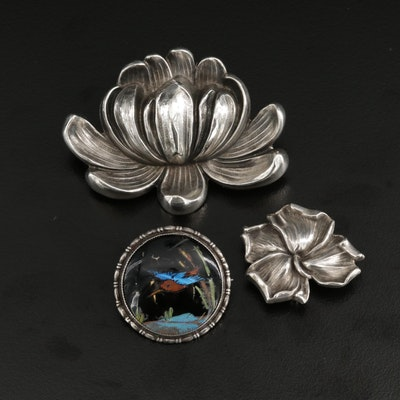 Antique Sterling Silver Brooches Featuring Wm. B. Kerr & Co. and Butterfly Wings
