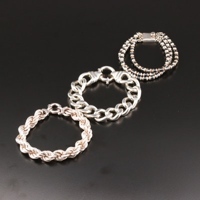Sterling Silver and 800 Silver Hematite Bracelets