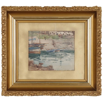 Nelson Ethelred Dawson Harbor Scene Watercolor Painting