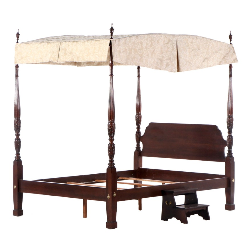 Ethan Allen Rice-Carved Cherry Bed with Canopy in Queen Size