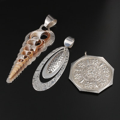 Sterling Silver Pendants Featuring Towle and Shell Pendant