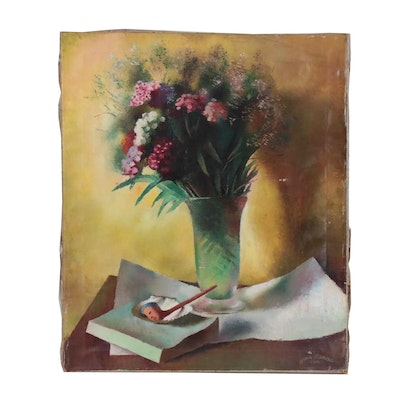 Jean Hanau Still Life Oil Painting of Flowers and Pipe