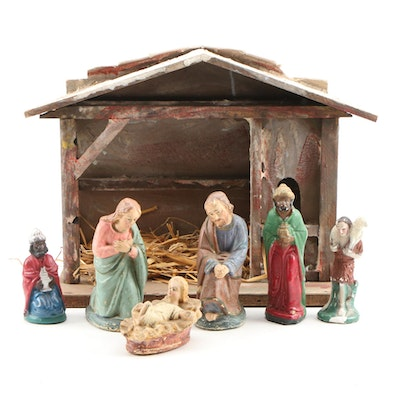 Transogram Co. Nativity Set with Chalkware Figurines, Early to Mid 20th Century