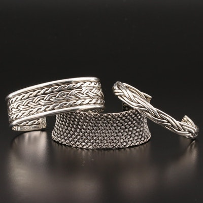 Sterling Silver Cuff Bracelet Selection Featuring Woven and Braided Motifs