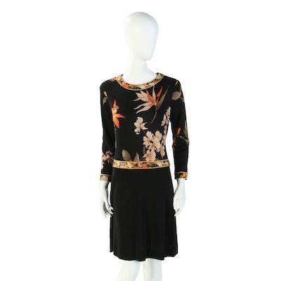 Leonard Paris Silk Jersey Bird of Paradise and Lily Print Dress