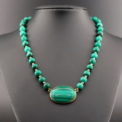 14K Yellow Gold Malachite Beaded Necklace
