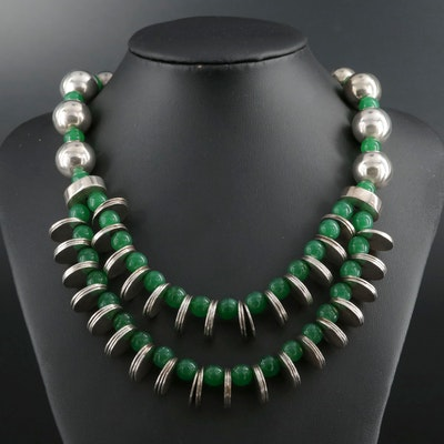 800 Silver Glass Beaded Necklace
