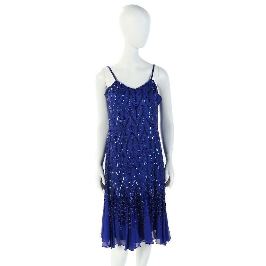 Oleg Cassini Embellished Blue Silk Sleeveless Flutter Dress