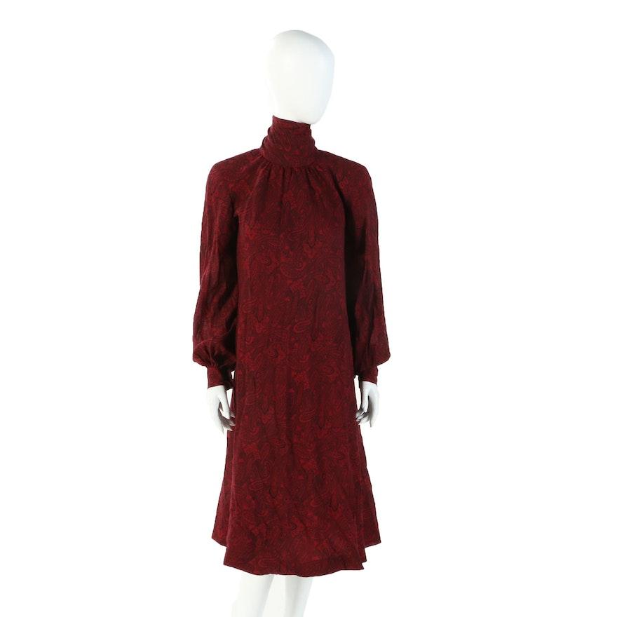 Pauline Trigère For Saks Fifth Avenue Crimson Paisley Print Dress