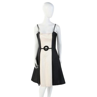 Donald Deal Silk Blend Black and Ivory Color Block Sleeveless Dress