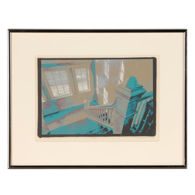 Todd Waller Serigraph of Interior Staircase, 1975