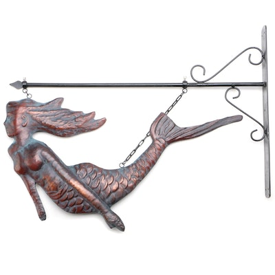 Copper Finish Metal Mermaid Hanging Sign