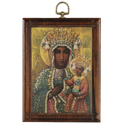 "Offset Lithograph after Religious Icon ""Our Lady of Czestochowa"""