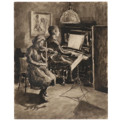 Walther Müller Charcoal and Wash Drawing of Musicians