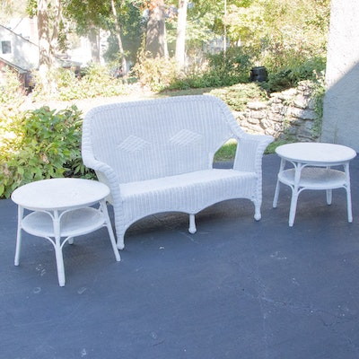 White Wicker Sofa and Side Tables, Mid to Late 20th Century