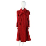A Trigère Coat with Scarf Collar in Striped Red Wool, Vintage