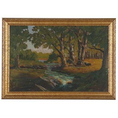 Wilbur LeRoy Newark Landscape Oil Painting, Mid 20th Century