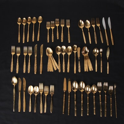 International Silver and Other Gold Tone Stainless Steel Flatware
