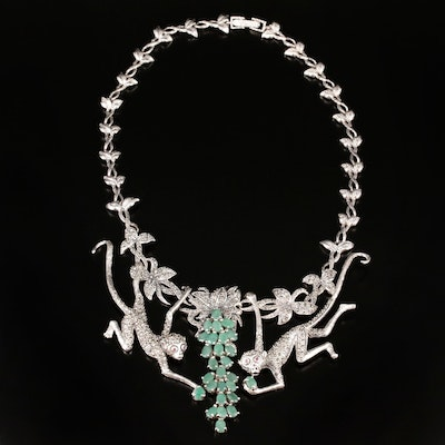 Sterling Silver Emerald, Marcasite and Ruby Monkey Motif Necklace